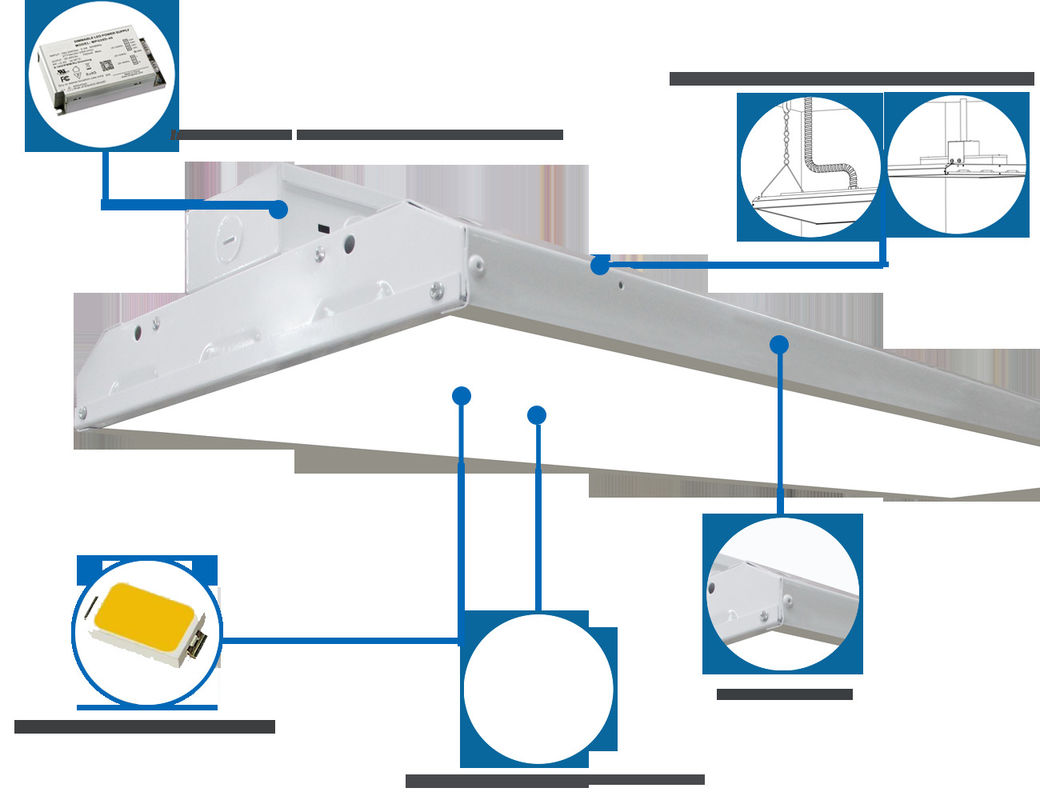 225W Linear LED High Bay Light , Suspended Industrial Lighting Fixtures