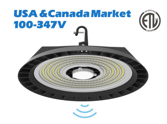 Warehouse 200W UFO Round Led High Bay 130LPW Efficiency With Motion Sensor